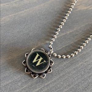 Letter W Typewriter Charm Necklace